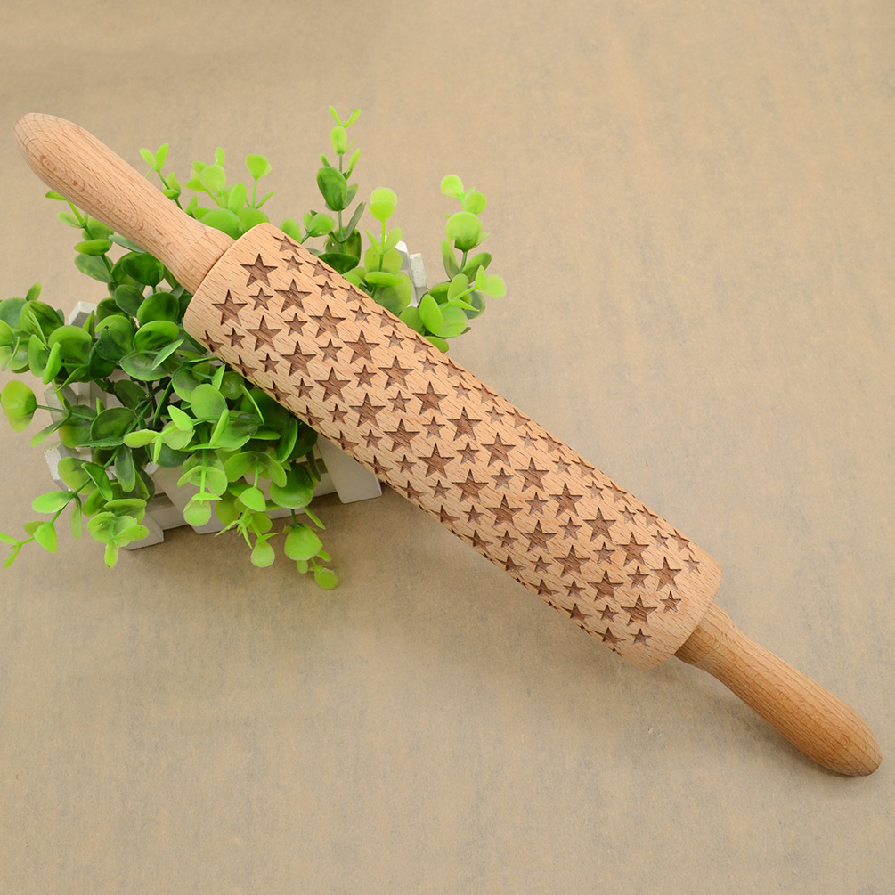 Cake Decorating Rolling Pin : Wooden Rolling Pin Laser Cut Embossing Cookie Cake Pastry ...