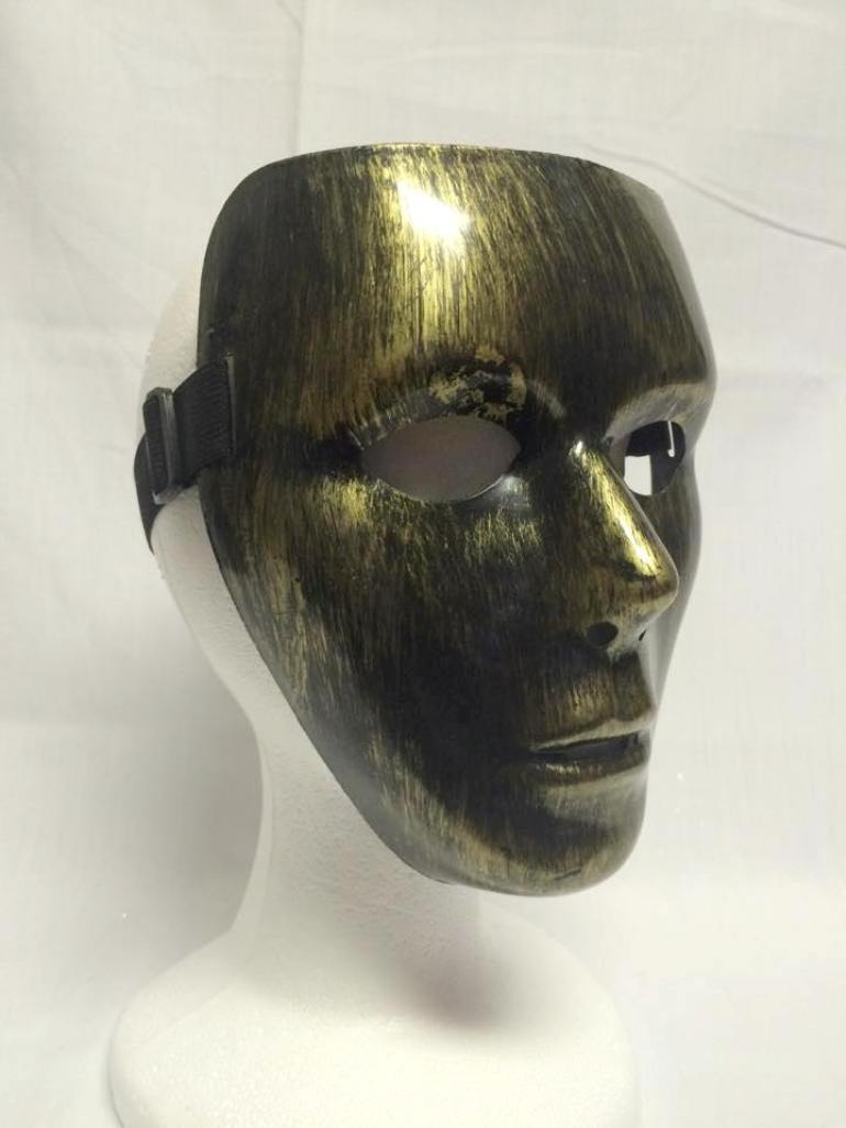 Brushed Antique Gold Silver Blank Face Mask Plastic Costume Accessory Masquerade