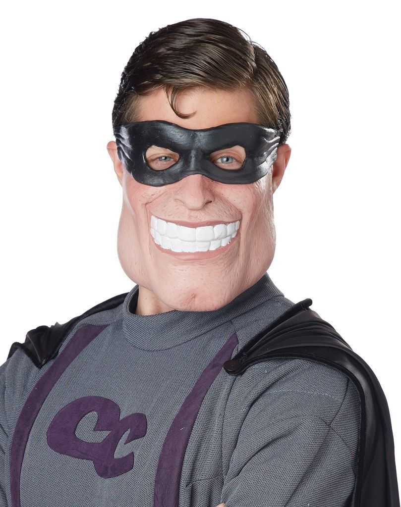 funny super dude latex half mask super hero adult