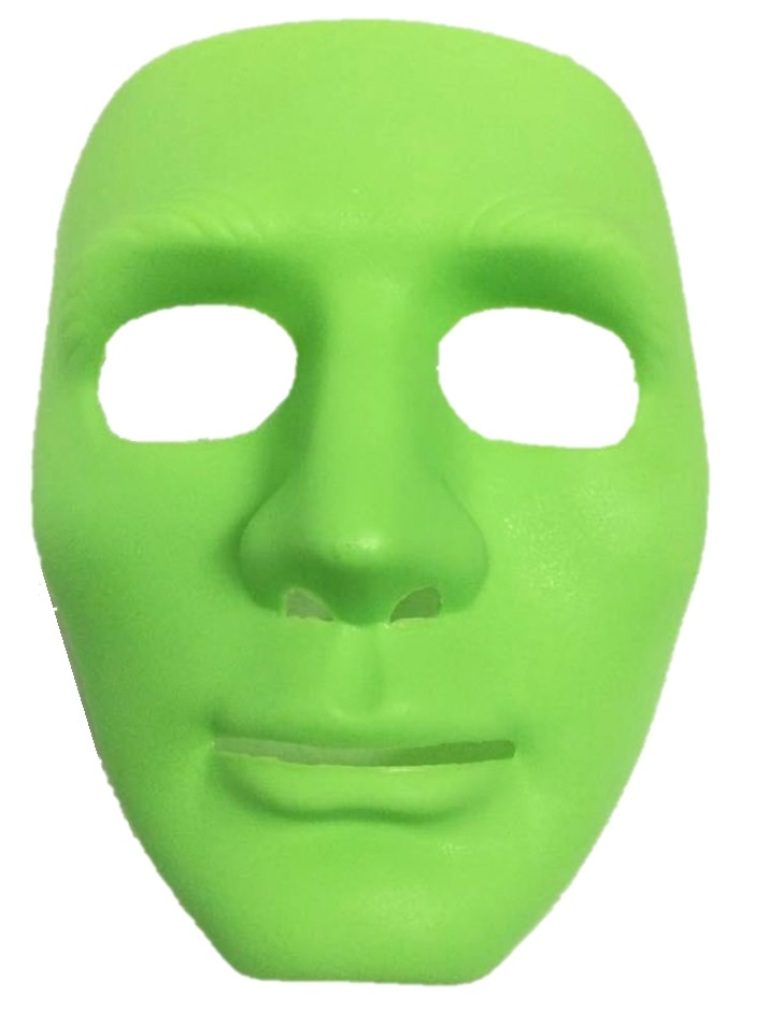 Blank Face Mask Plastic Costume Accessory Blue Green Pink Yellow ...