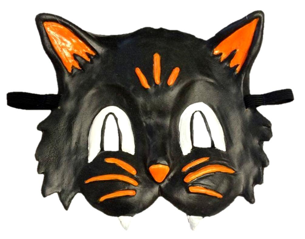 Black Cat Face Latex Half Eye Mask Adult Halloween Costume Accessory Animal