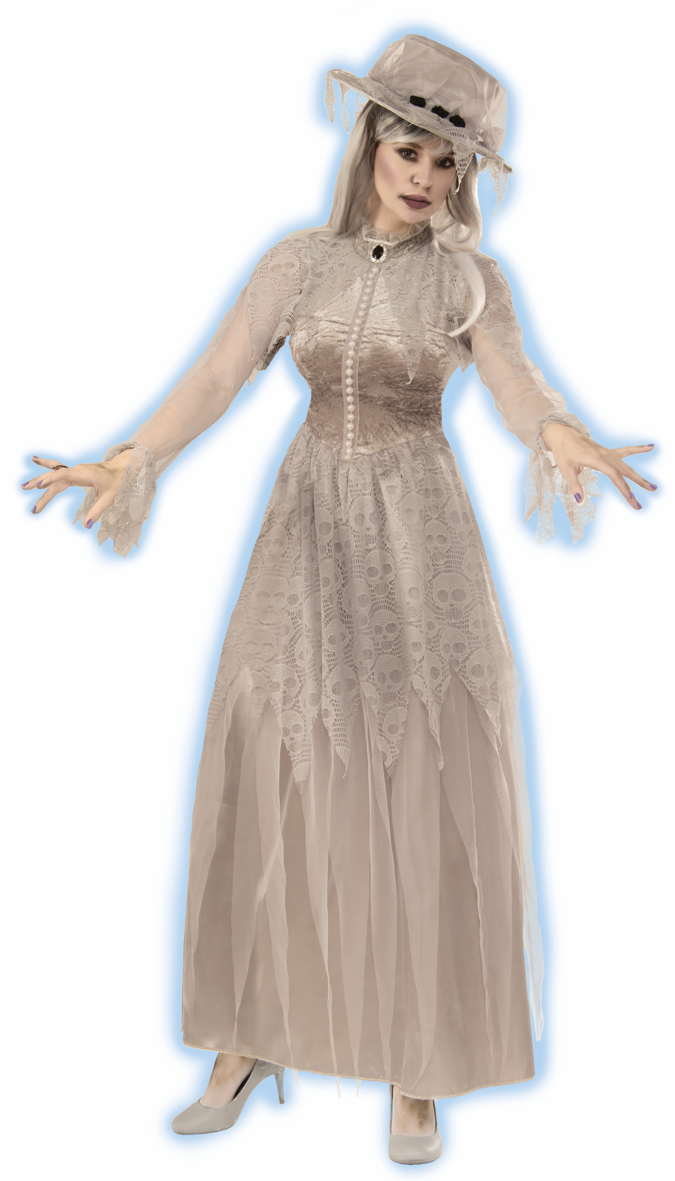 Women s Victorian Ghost Bride Costume Grey Fancy Dress