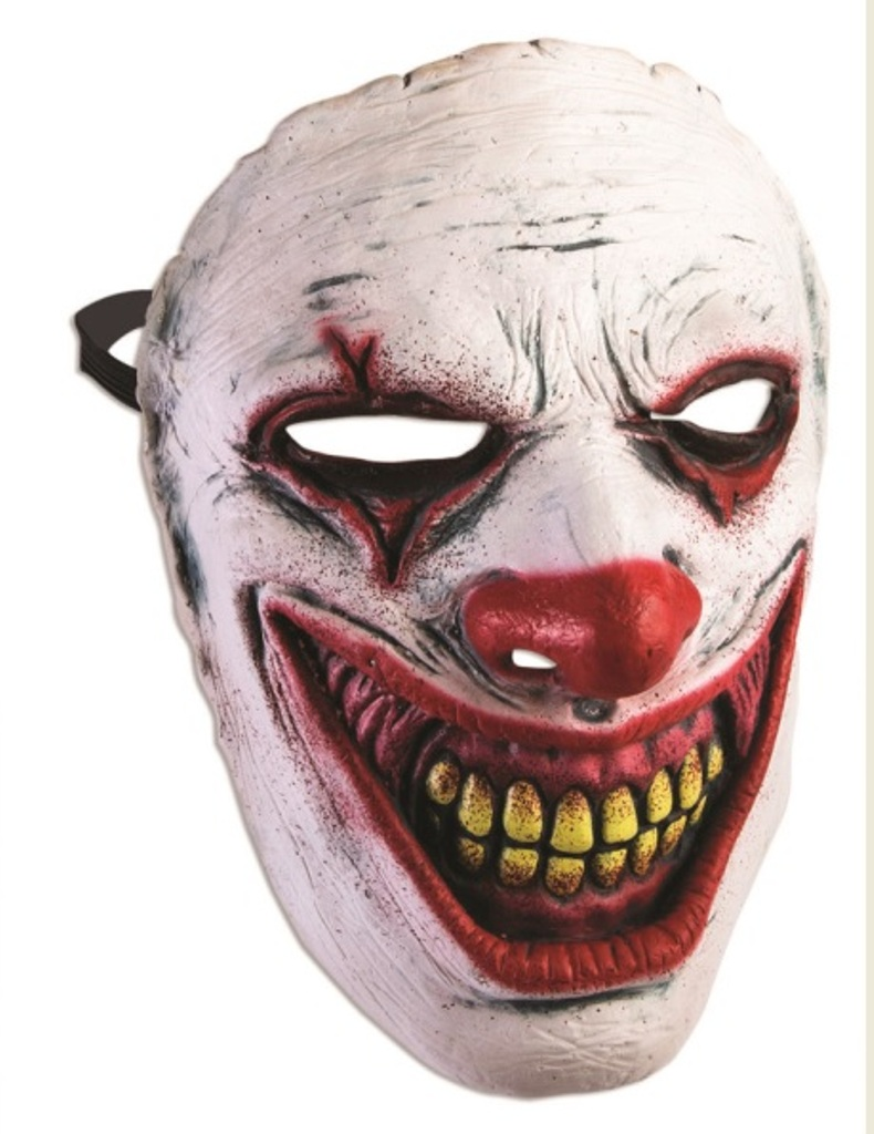 Evil Clown Frontal Face Mask Crazy Killer Halloween Adult Costume ...