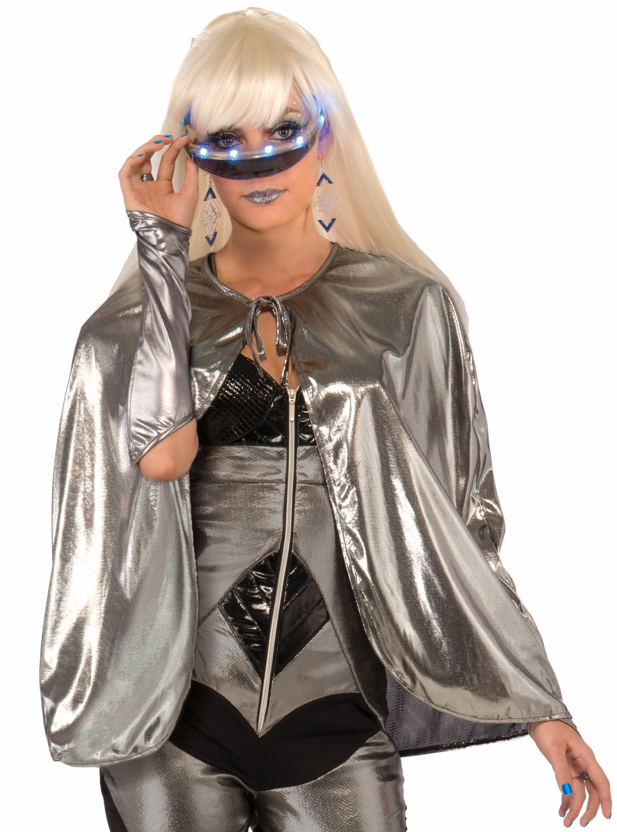 Metallic silver futuristic 25 short cape outer space hot for Outer space outfit
