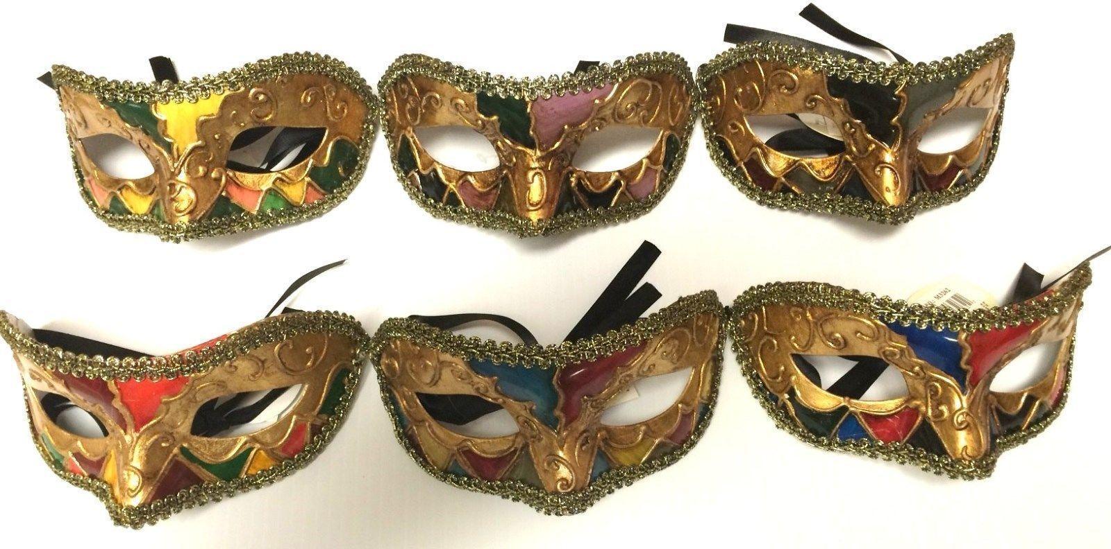 Half Eye Mask Argyle Mardi Gras Halloween Costume Accessory Adult Men Women