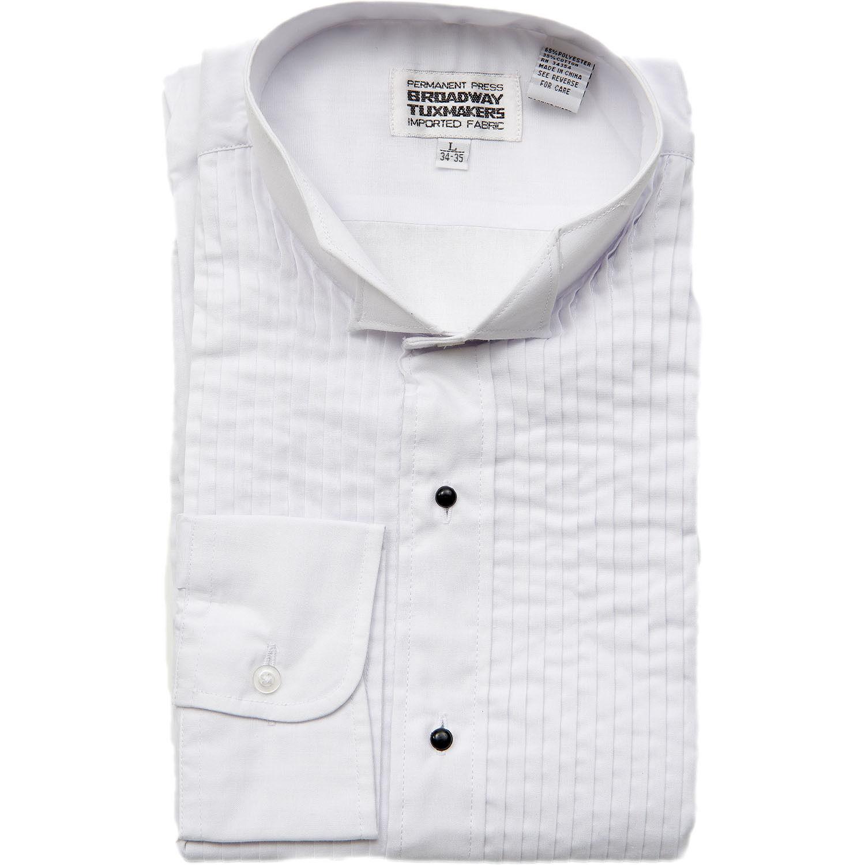 Mens 2x 18 18 1 2 34 35 white wing tip collar tuxedo shirt for Tuxedo shirt wing tip