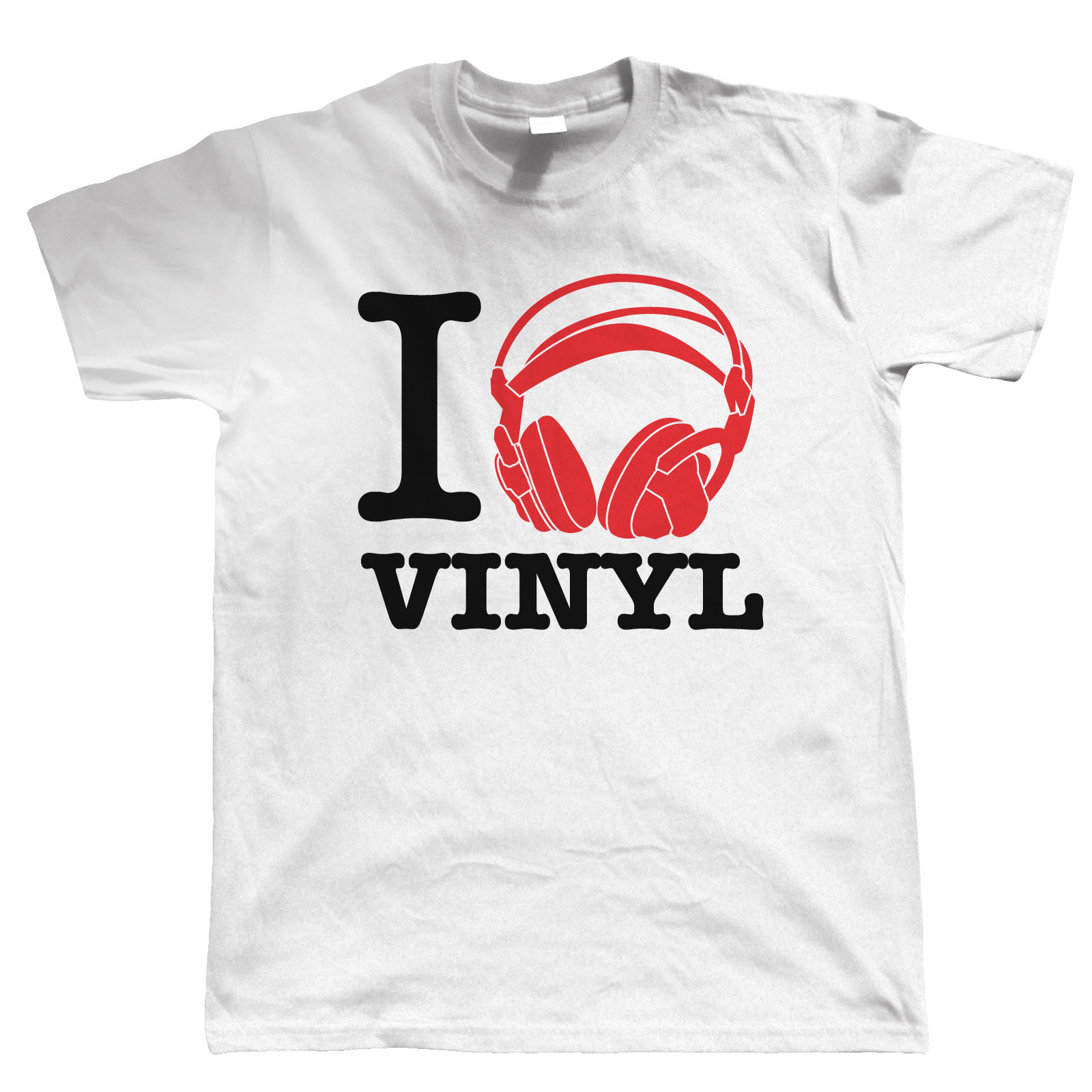 I Love Vinyl, Mens Audiophile T Shirt - Record Collector DJ - Gift for Dad Him
