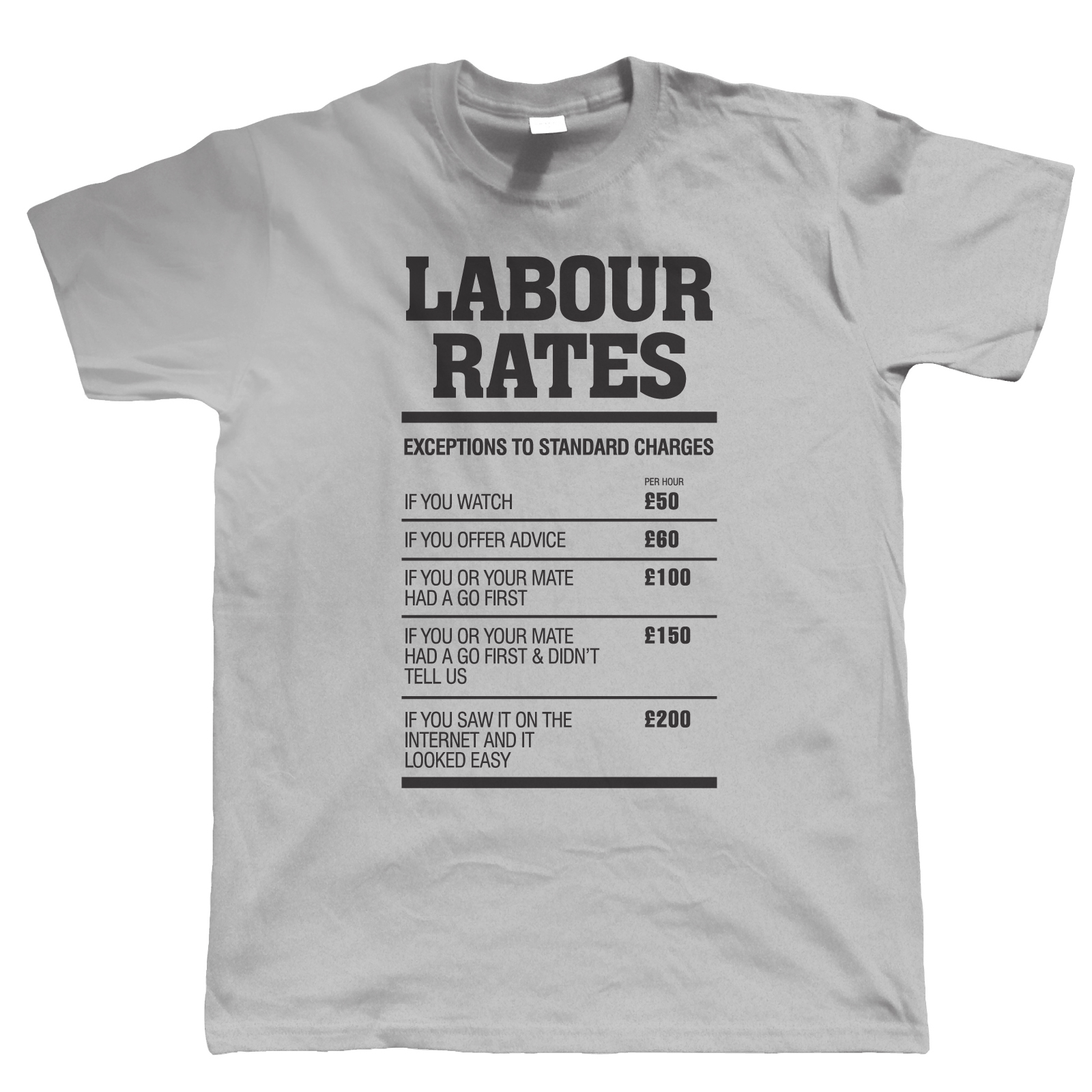 labour rates mens funny t shirt gift for mechanic