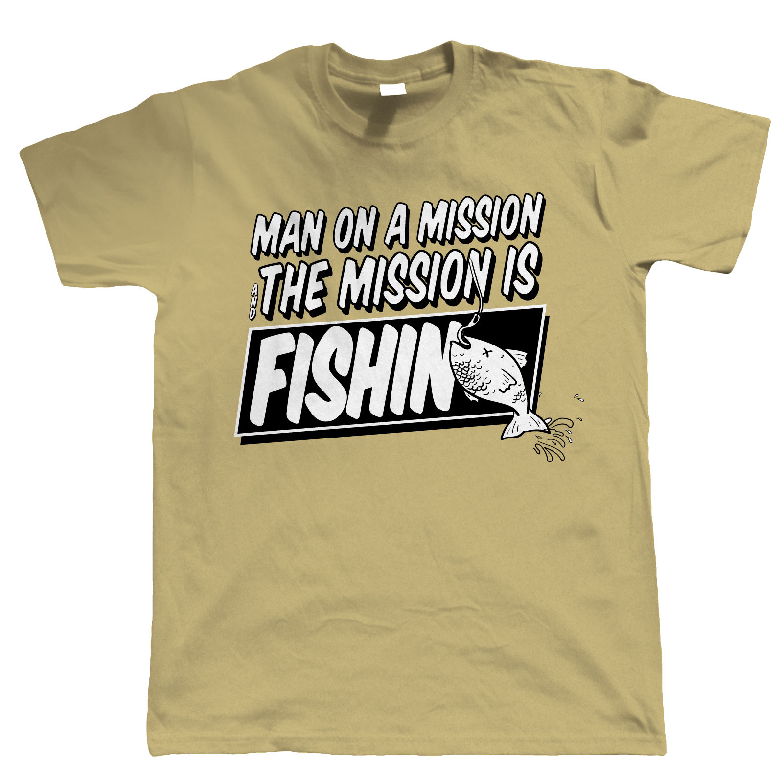 Man on a mission funny fishing t shirt carp angler sea for 4xl fishing shirts
