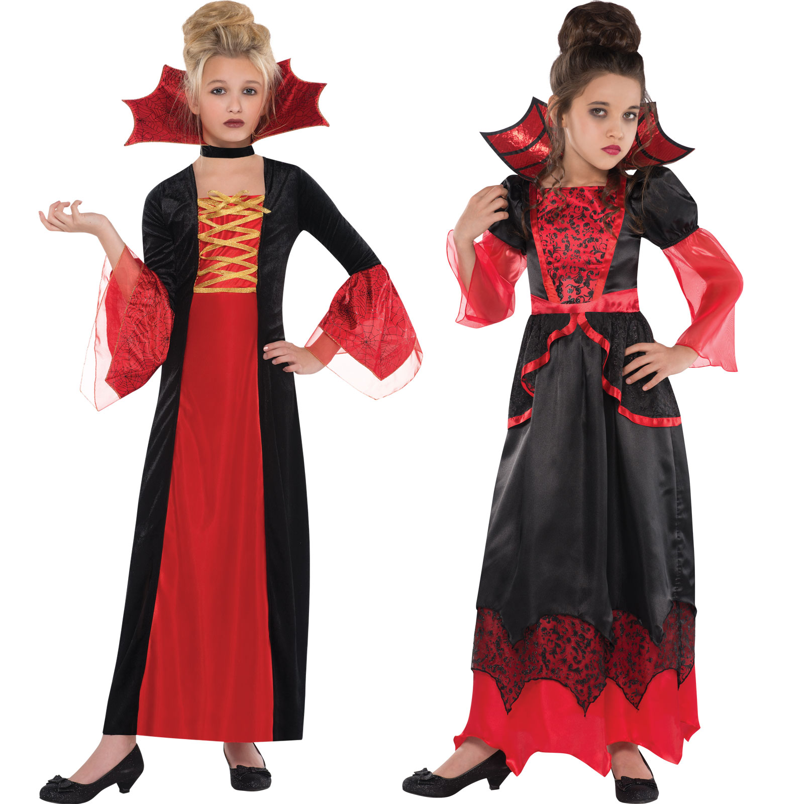 Girls Halloween Vampire Queen Gothic Princess Costumes Kids Fancy Dress