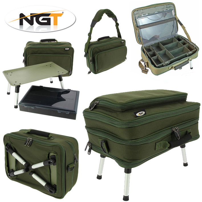 NGT Deluxe Box Case Tackle Bag System / Bivvy Table - Single or Double Tier