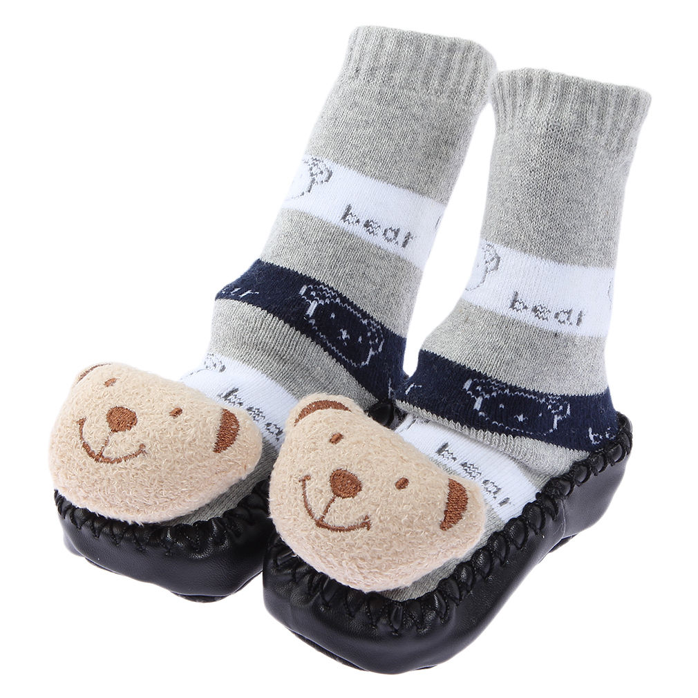 1pair Non slip Baby Infant Toddler Moccasins Shoes Socks