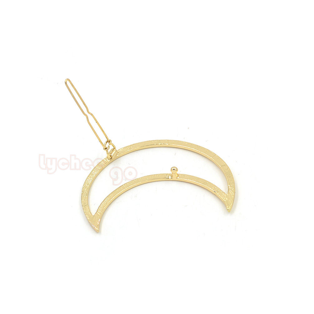 1X Girl Punk Hollow Out Moon Triangle Hair Clip Hairpin Clamps Gold Tone Fashion