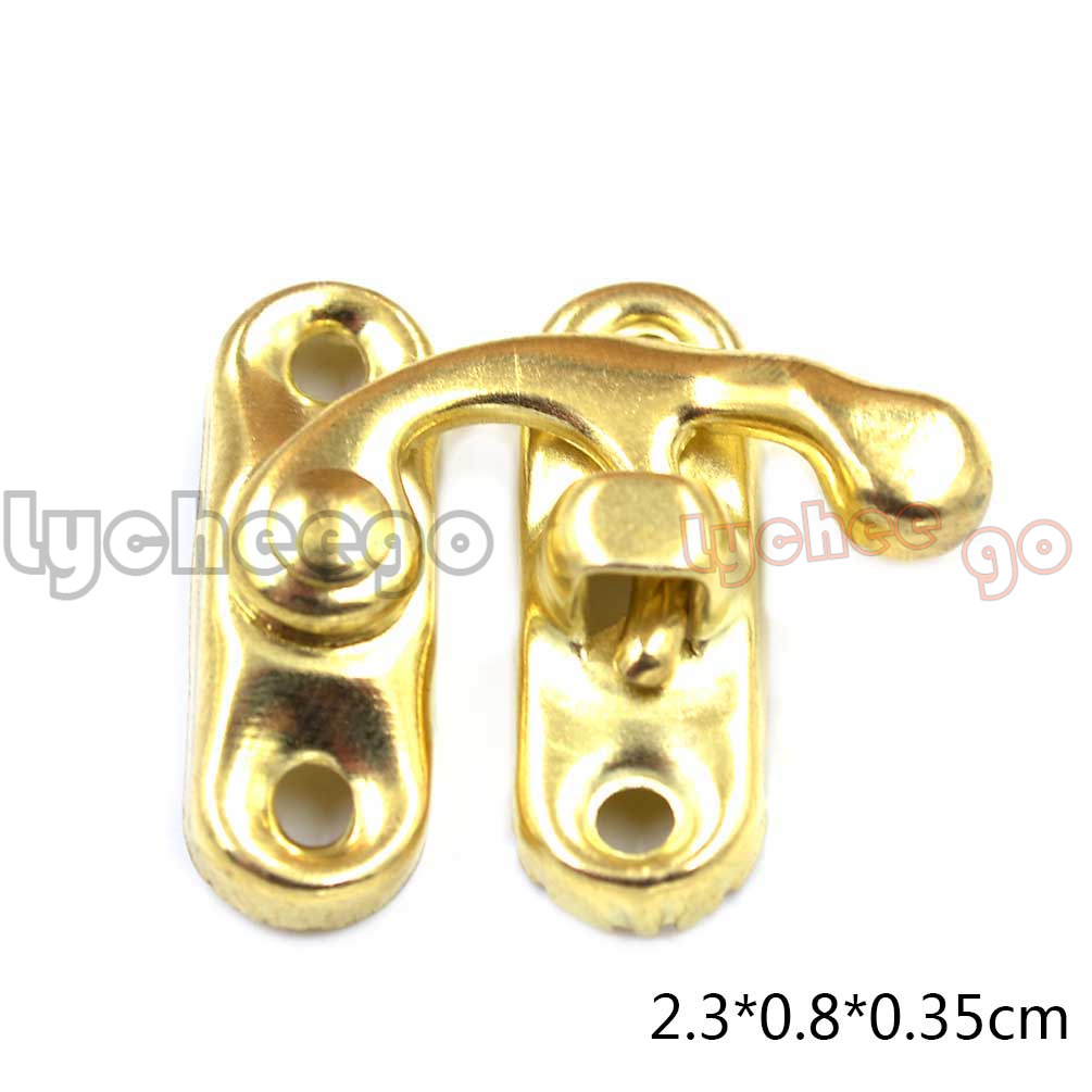 1X Vintage Jewelry Gift Wooden Box Hasp Latch Hook Screws Wood Craft Decorative
