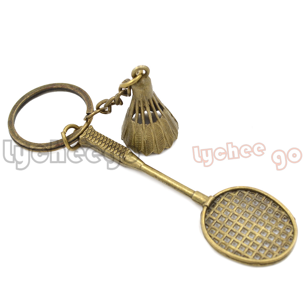 1X Alloy Badminton Battledore Racket Bat Set Pendant Key Bag Car Chain Ring Gift