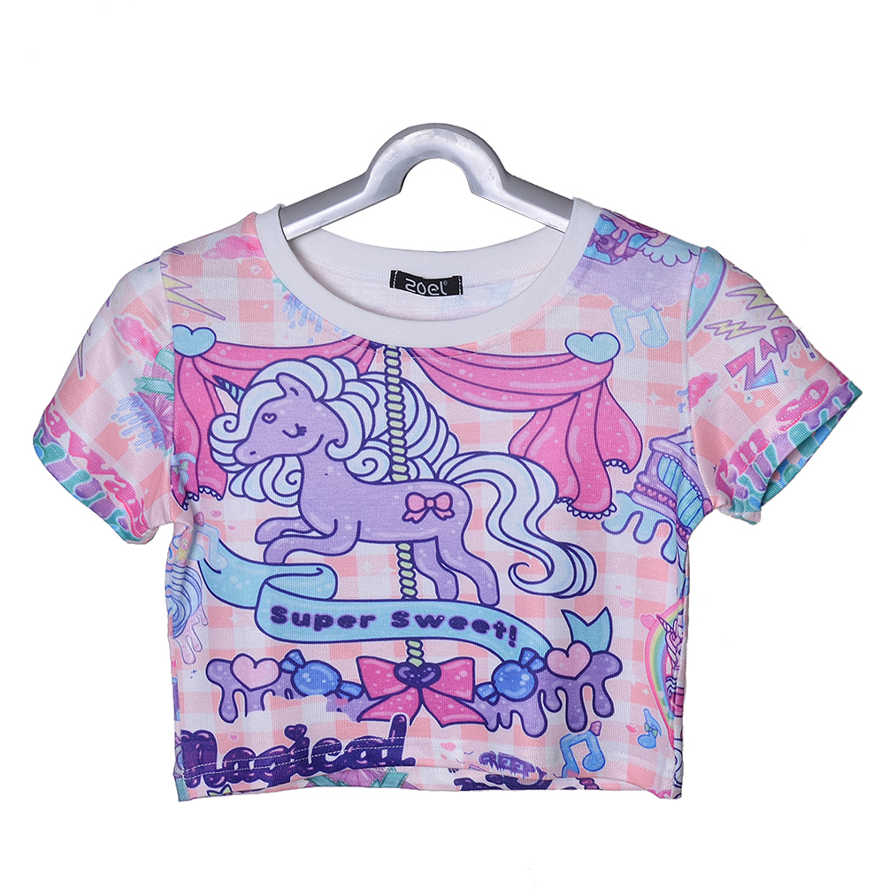 Harajuku Unicorn Printing Tee Summer Women Short Sleeve T-shirt Sexy Crop Top
