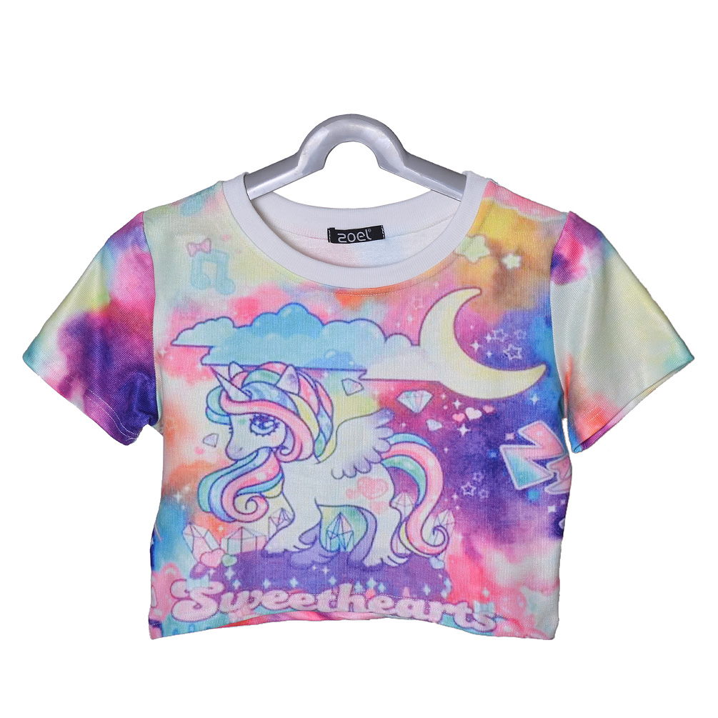Harajuku Unicorn Printing Tee Summer Women Short Sleeve T-shirt Sexy Crop Top