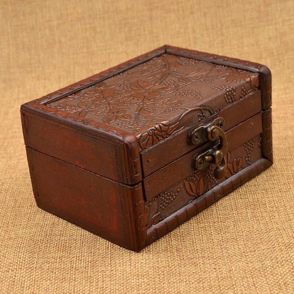 Retro wooden jewellery box decorative trinket storage box - Decorative storage boxes ...