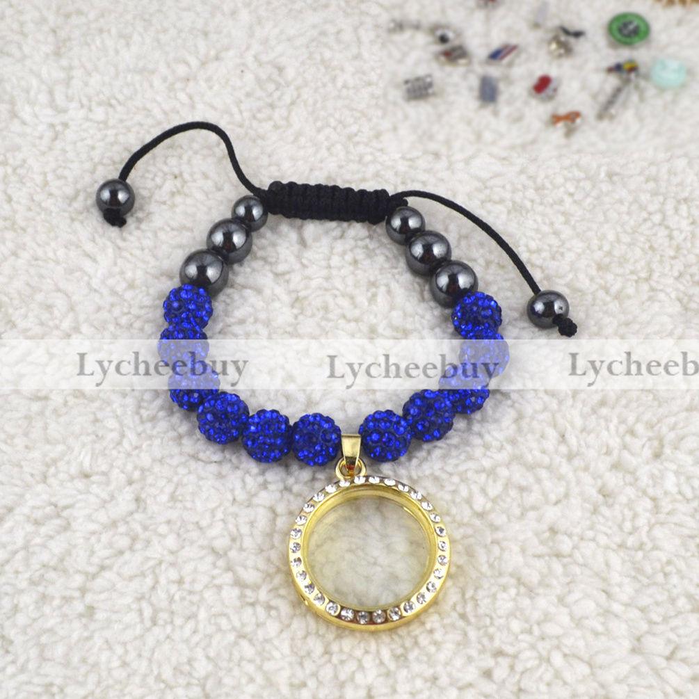 Glass Floating Living Memory Locket Shambhala Bracelet Adjustable Free Shipping