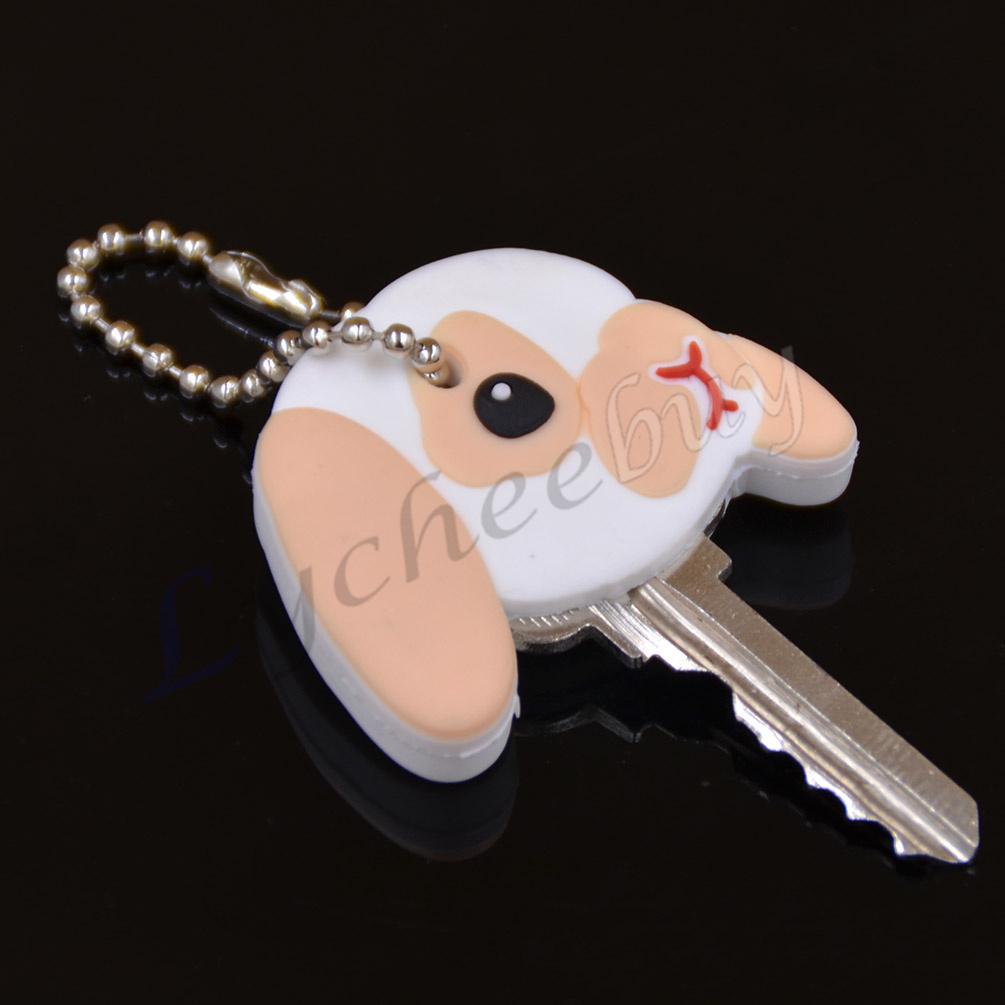 1X New Cute Puppy Pug Cat Rabbit Key Cover Cap Keychain Key Ring PVC Unisex Gift