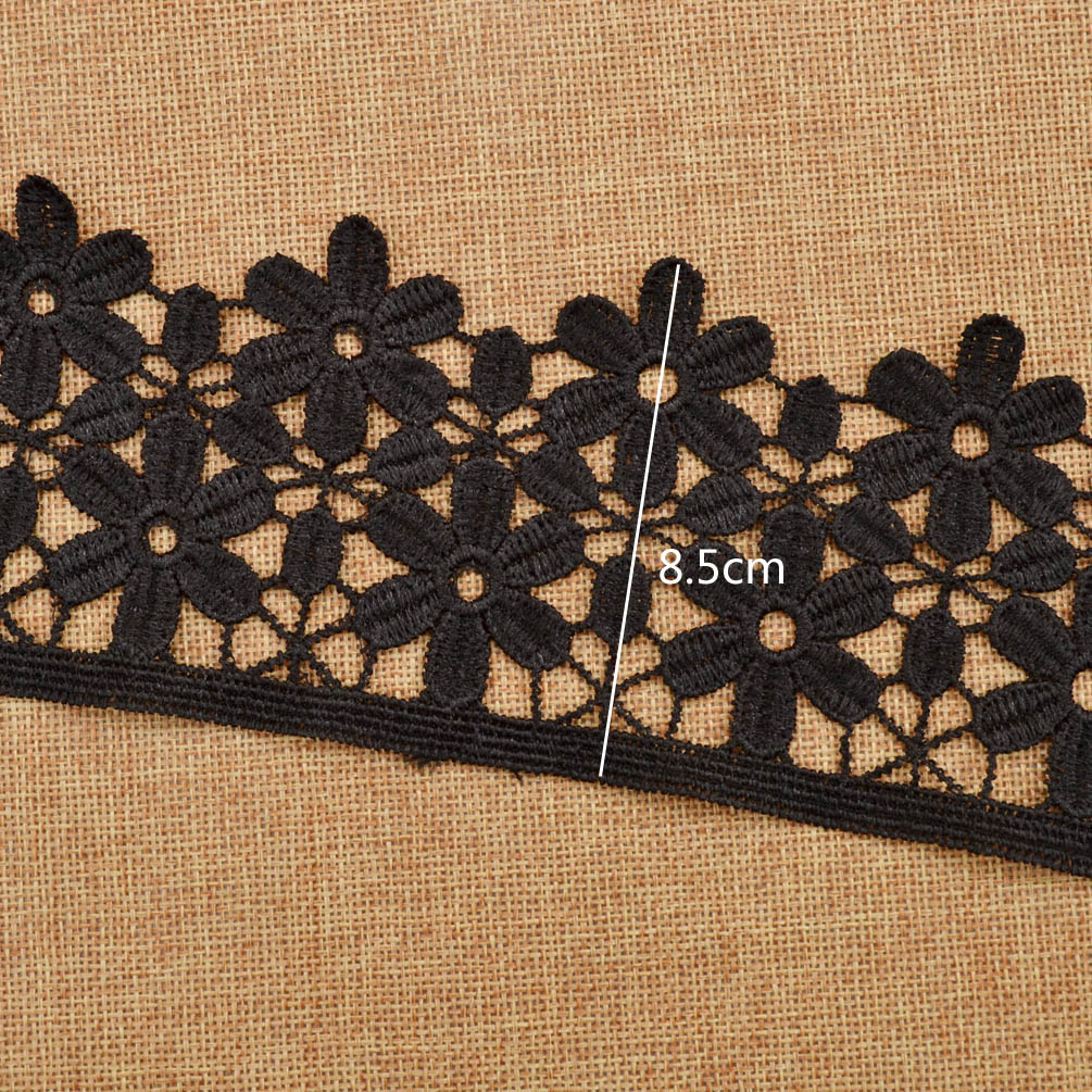 1Yard White Black Flower Lace Trim Ribbon Craft DIY Embroidered Applique New