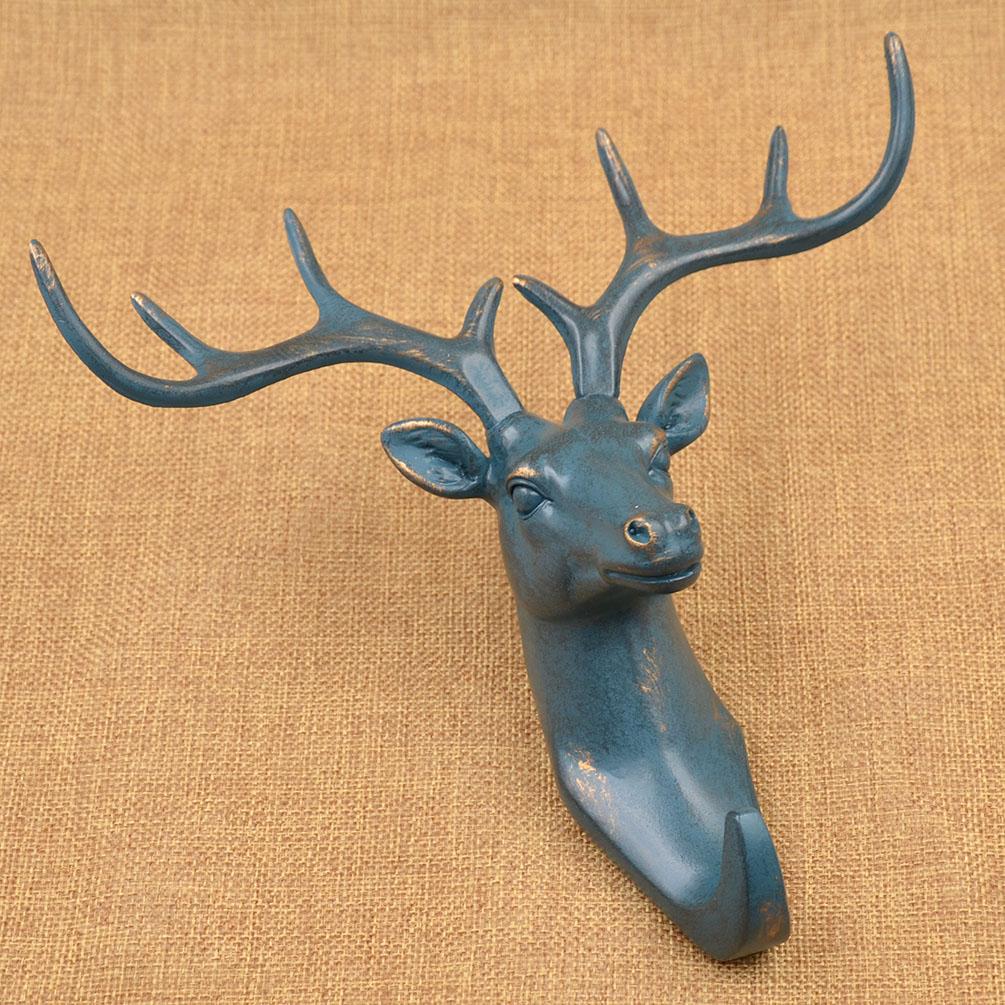 Vintage Deer Head Wall Hook Hanger Hat Coat Bag Holder