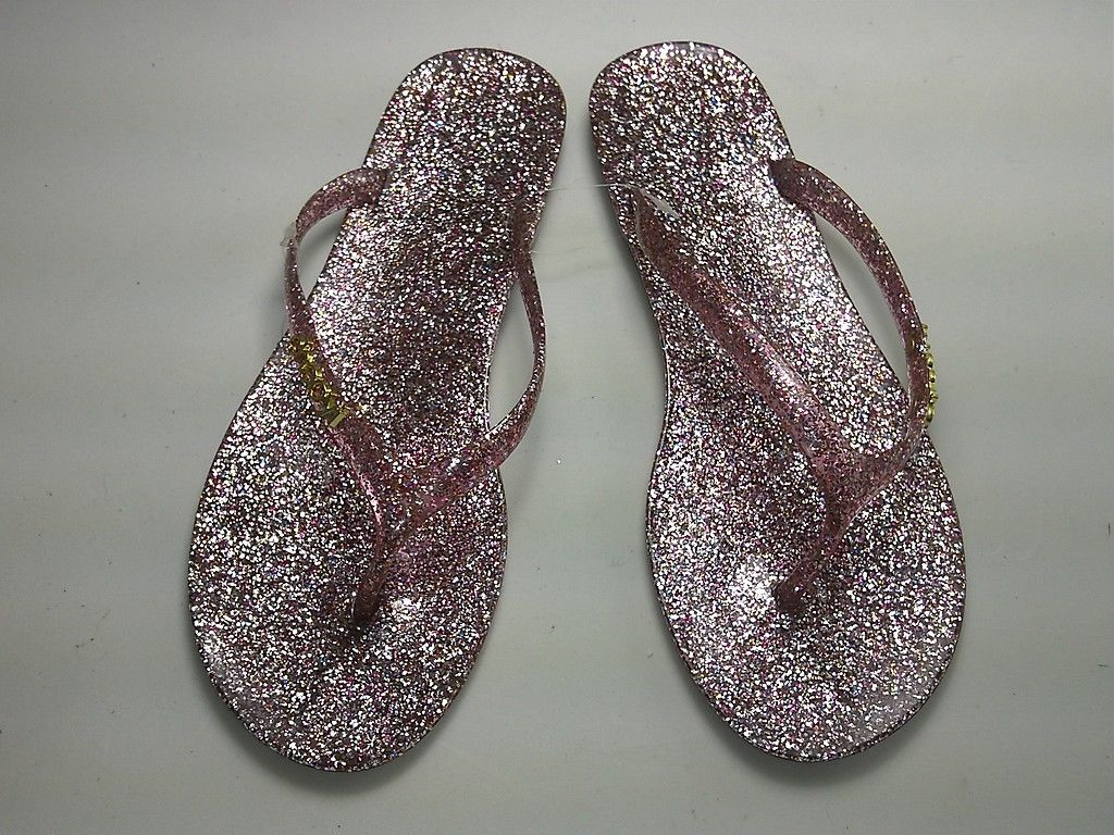 womens glitter jelly cushion flip flops beach pool summer. Black Bedroom Furniture Sets. Home Design Ideas