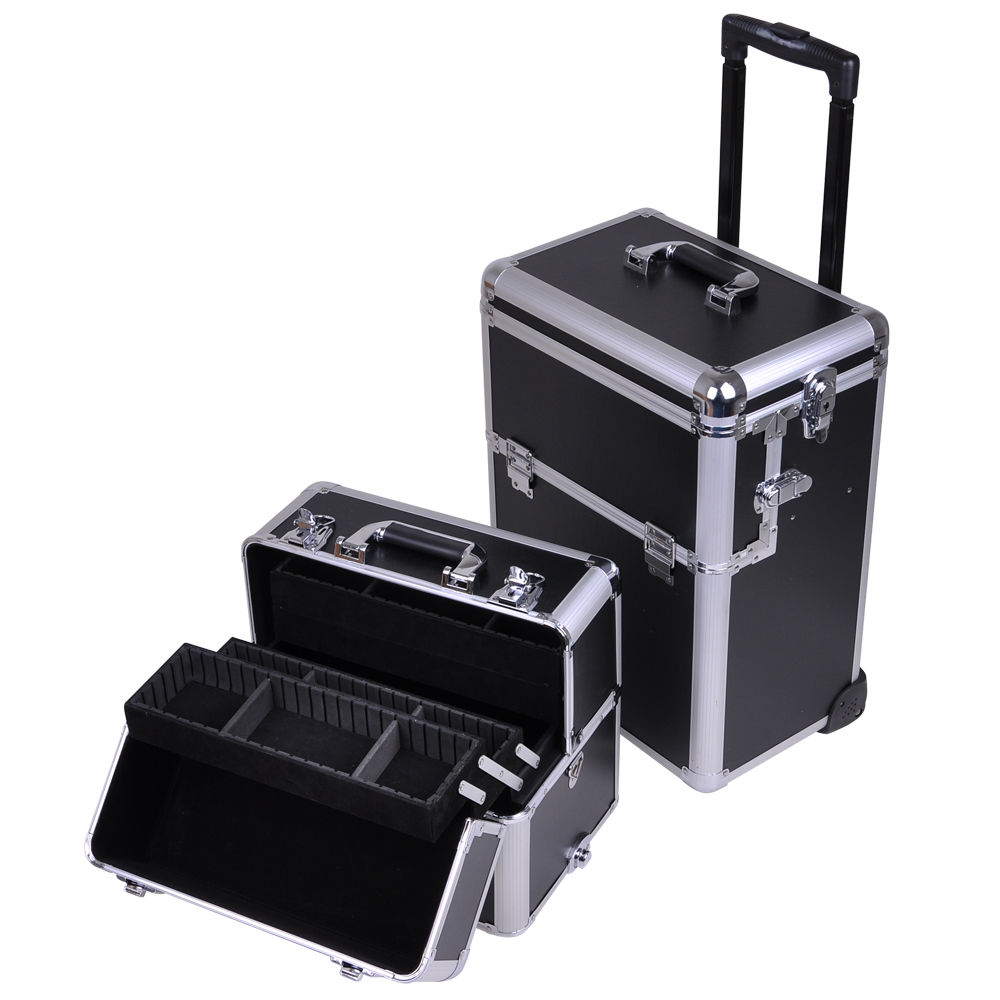 Inin Rolling Aluminum Makeup Case Wheeled Artist Cosmetic - Aluminum trolley case pro rolling makeup cosmetic organizer
