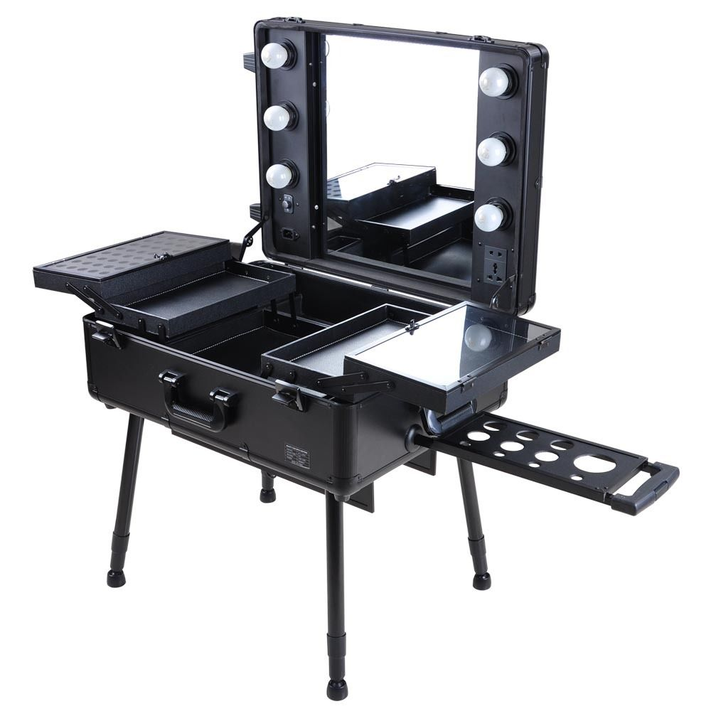 Professional Makeup Vanity Lights : Rolling Studio Makeup Train Case Cosmetic w/Light Leg Mirror Wheeled Black/Pink eBay