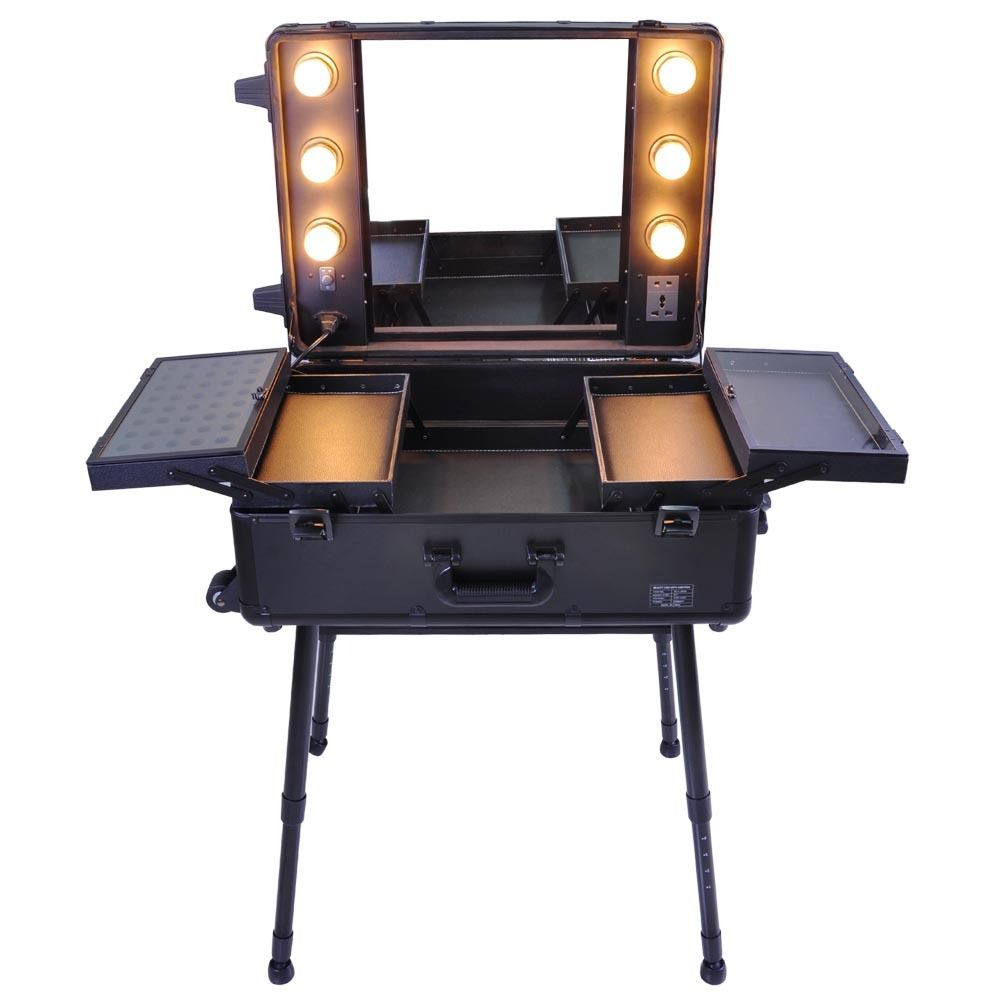 Astonishing Stand Up Vanity Mirror With Lights Contemporary  Best Amusing Portable