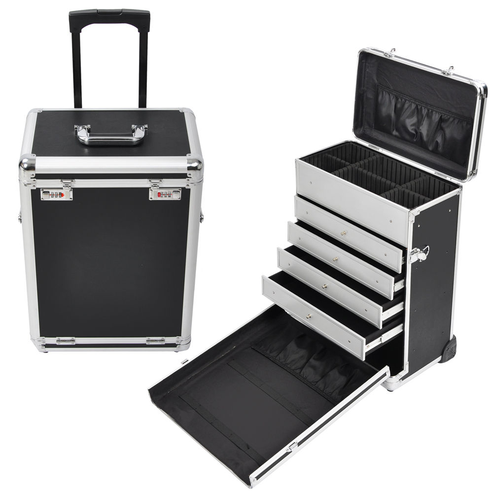 Rolling Aluminum Makeup Case Box WDrawers Code Lock Wheeled - Aluminum trolley case pro rolling makeup cosmetic organizer