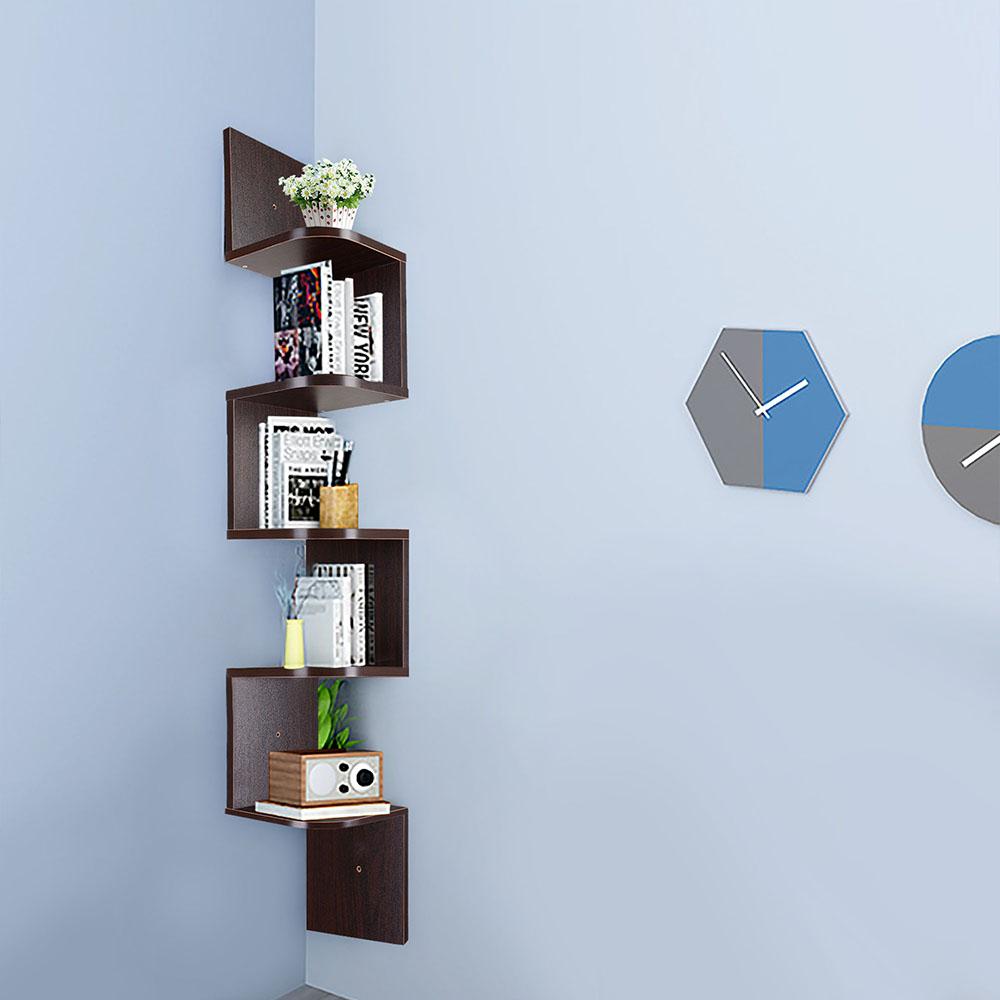 5 Tier Wall Mount Corner Shelf Storage Unit Shelves Wood