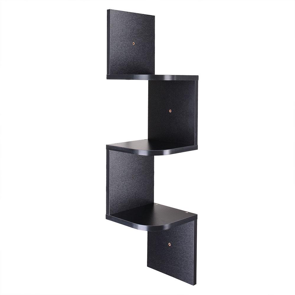 wood wall mount corner shelf home hanging storage rack display unit 2 3 5 tiers ebay. Black Bedroom Furniture Sets. Home Design Ideas