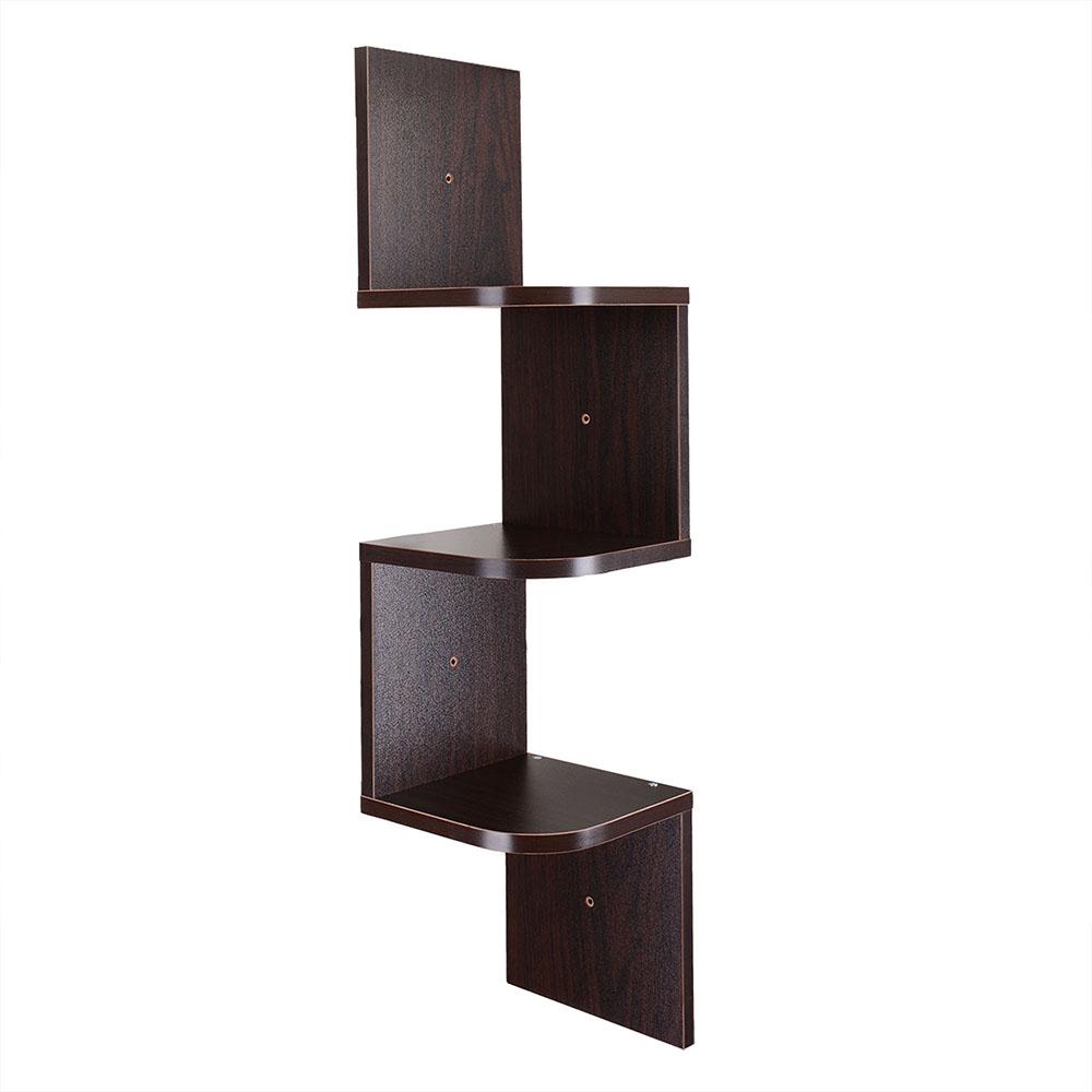 wood wall mount corner shelf home hanging storage rack. Black Bedroom Furniture Sets. Home Design Ideas
