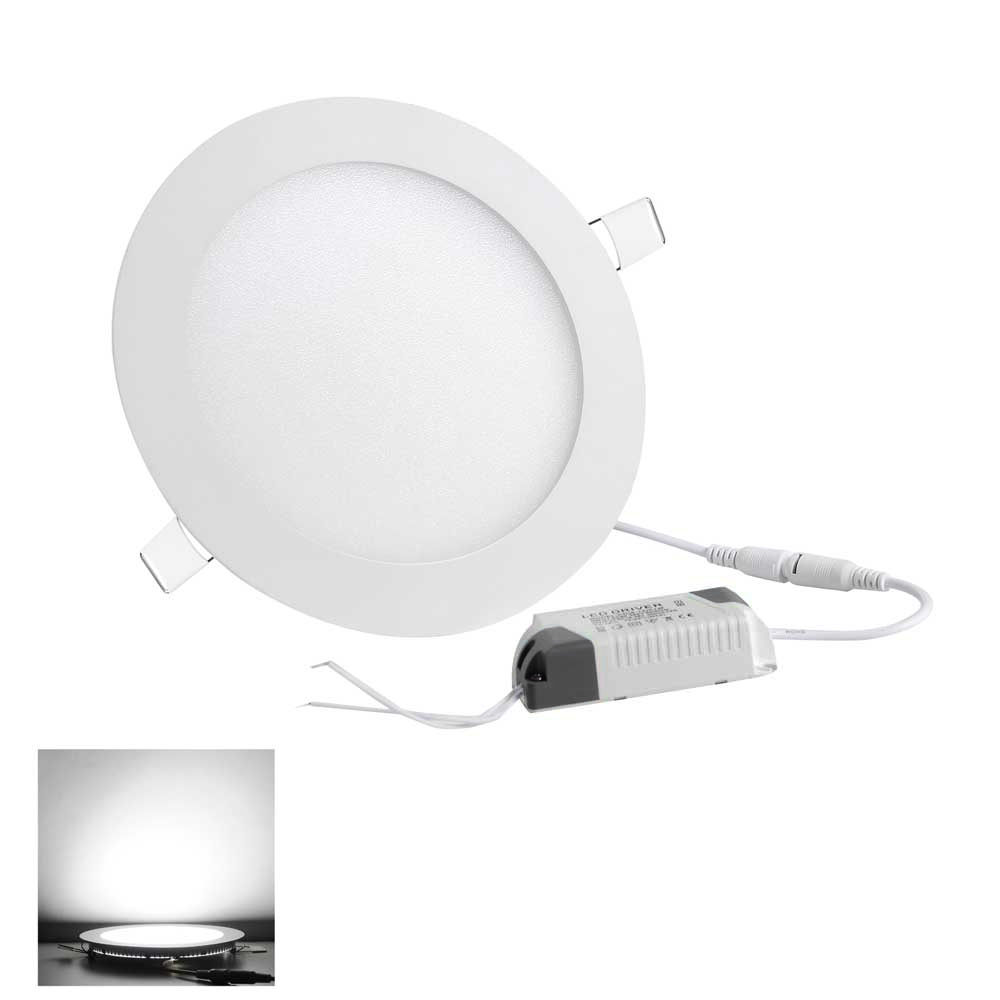 9 12 18w led round recessed ceiling flat panel down light ultra slim cool white. Black Bedroom Furniture Sets. Home Design Ideas