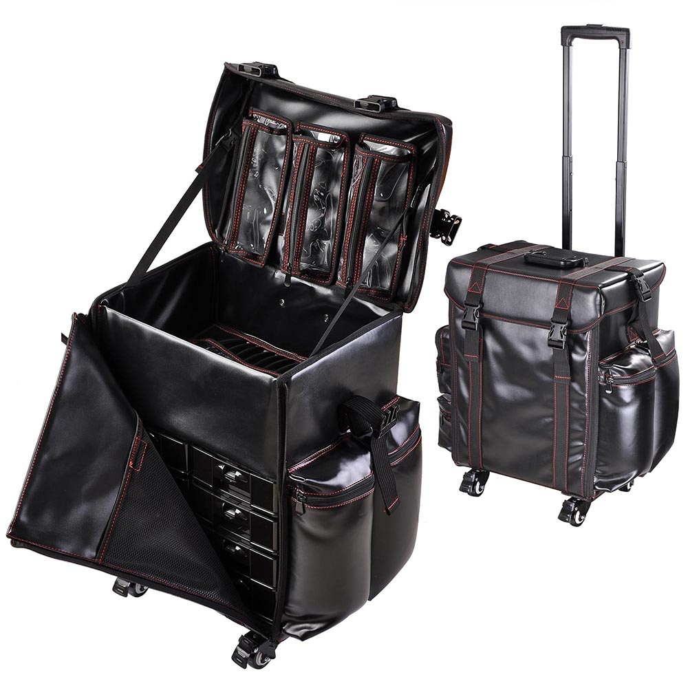 Oxford Pu Rolling Makeup Train Vanity Case Trolley Bag