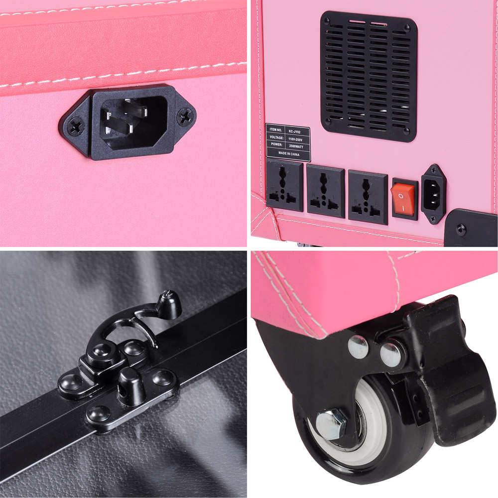 ... Makeup-Show-Artist-Barber-Travel-Rolling-Case-Light-Trolley-Black-Pink