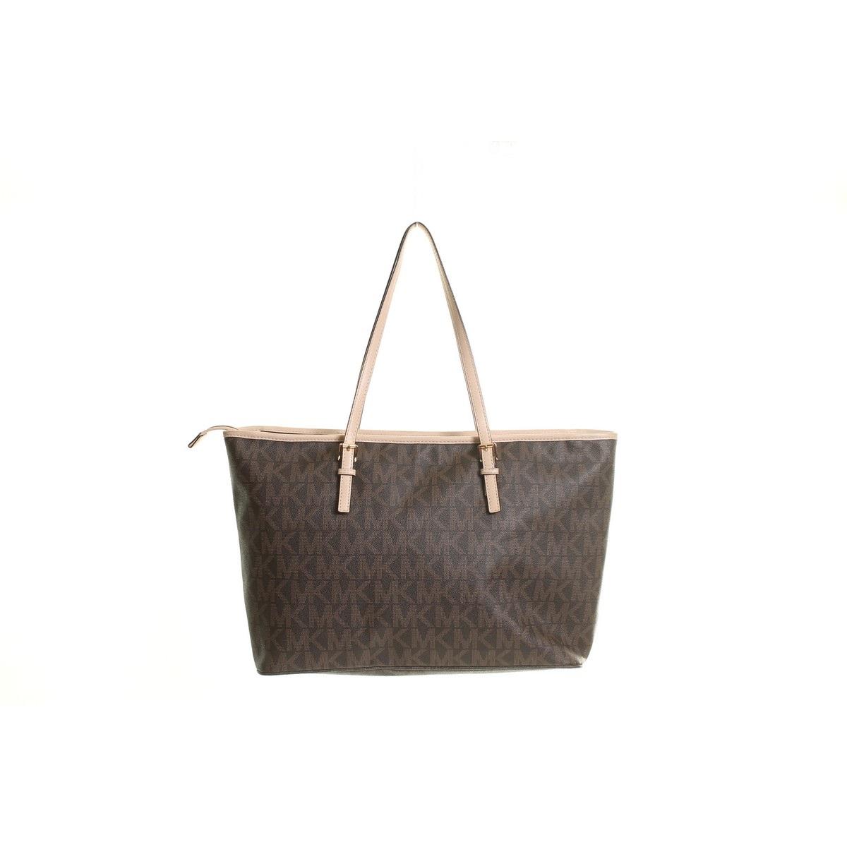 michael kors brown jet set travel signature logo tote handbag tedo ebay. Black Bedroom Furniture Sets. Home Design Ideas