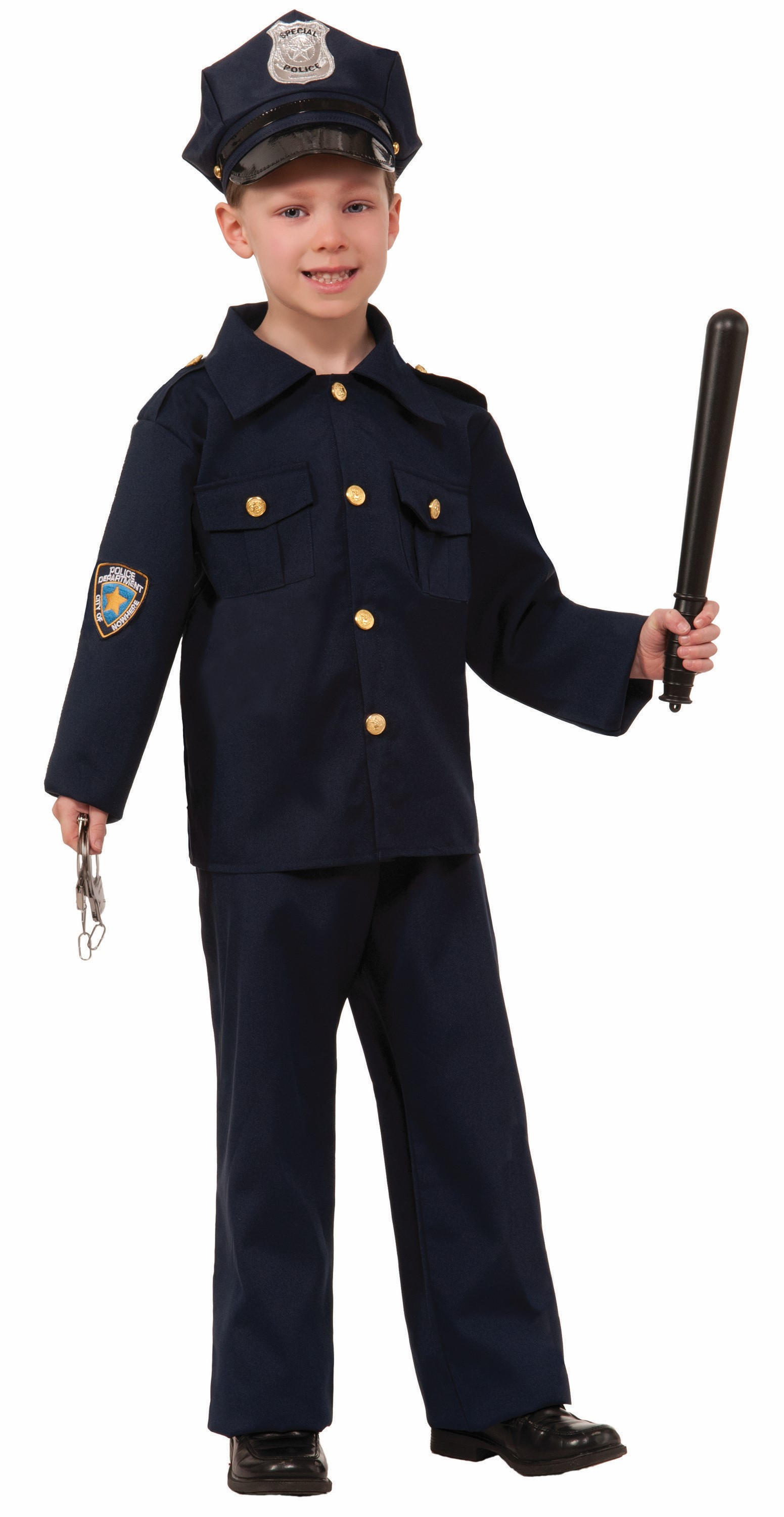 Child boys police force man officer boy cop halloween costume policeman ebay - Police officer child costume ...