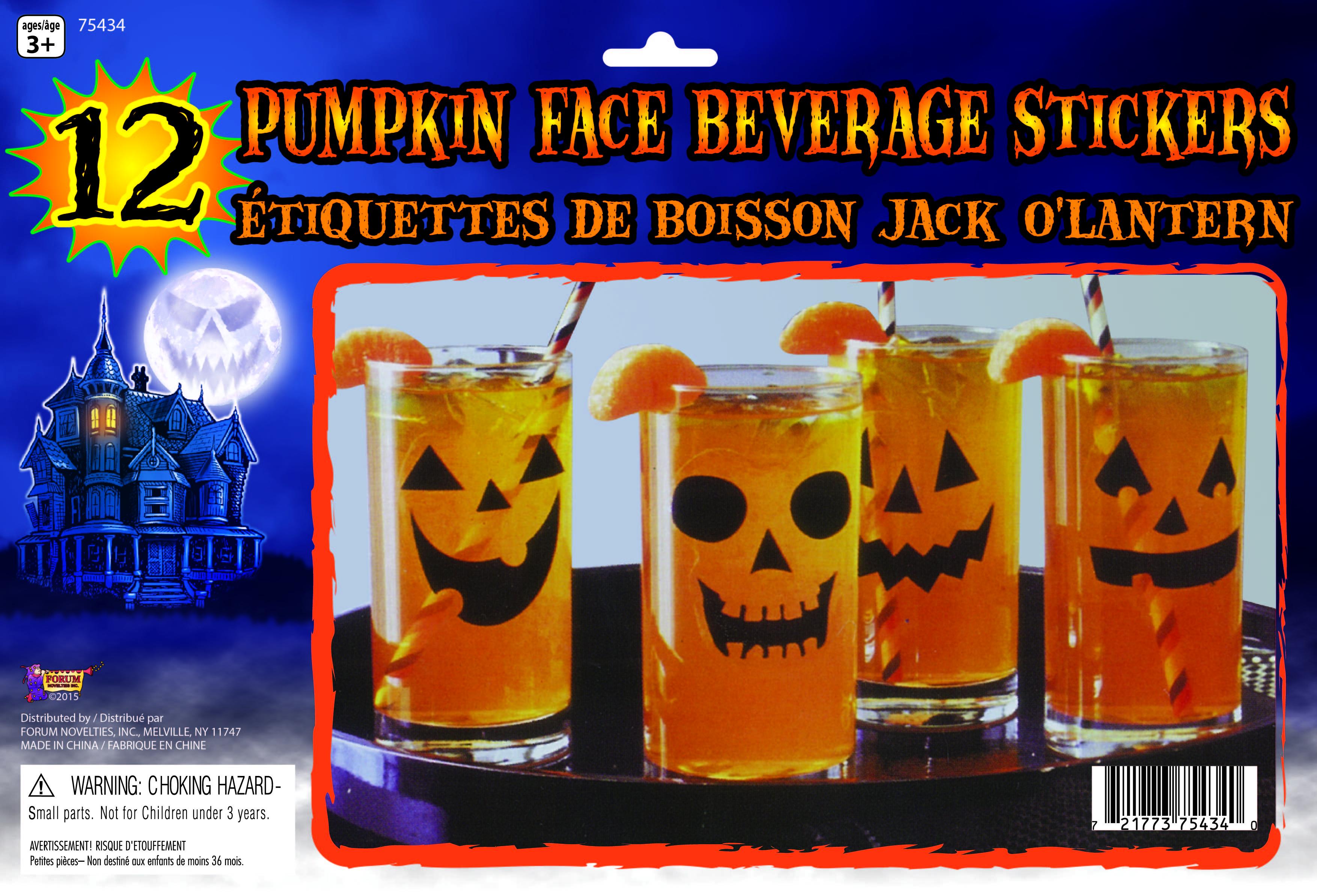 Jack-O-Lantern Pumpkin Face Beverage Stickers Decals Halloween ...