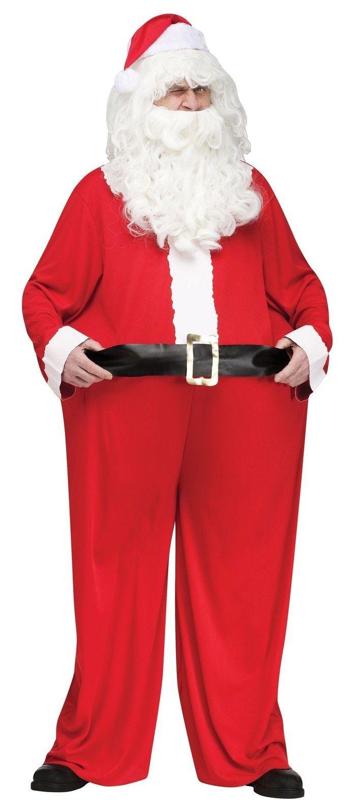 Adult christmas standard santa claus fat suit costume hat