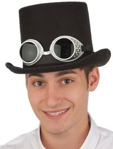 Deluxe High Crown Felt Top Hat Bell Topper With Steampunk Goggles Costume Adult