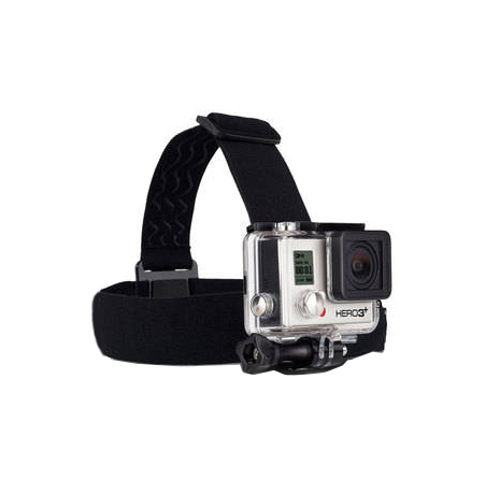 form-fitting camera head strap with gel traction