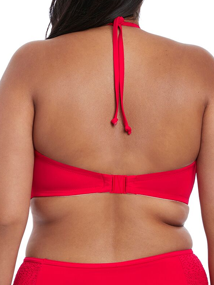 Elomi Indie Bikini Top Side Support 7537 Underwired High Neck Red /& Berry