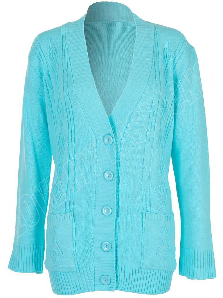 Knitting Pattern For Ladies Cable Cardigan : New Womens Ladies 5 Button Cable Knit Pattern Winter Cardigan Size 8 10 12 14...