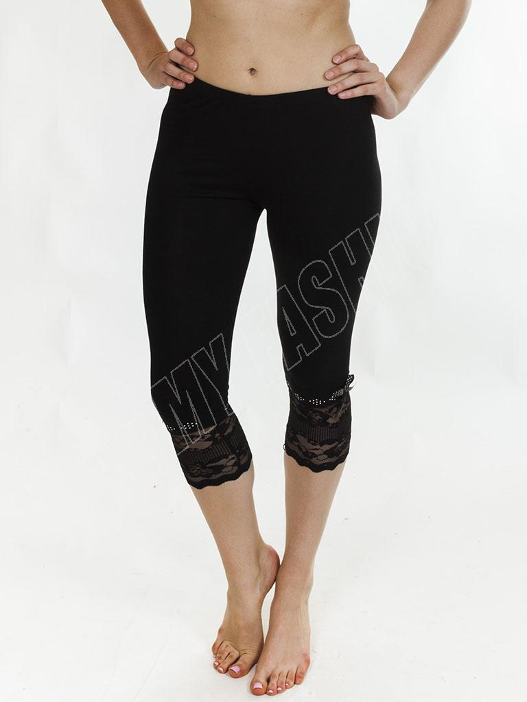 New Womens Ladies Full 3/4 Length Lace Summer Hot Leggings Trousers Size S M L