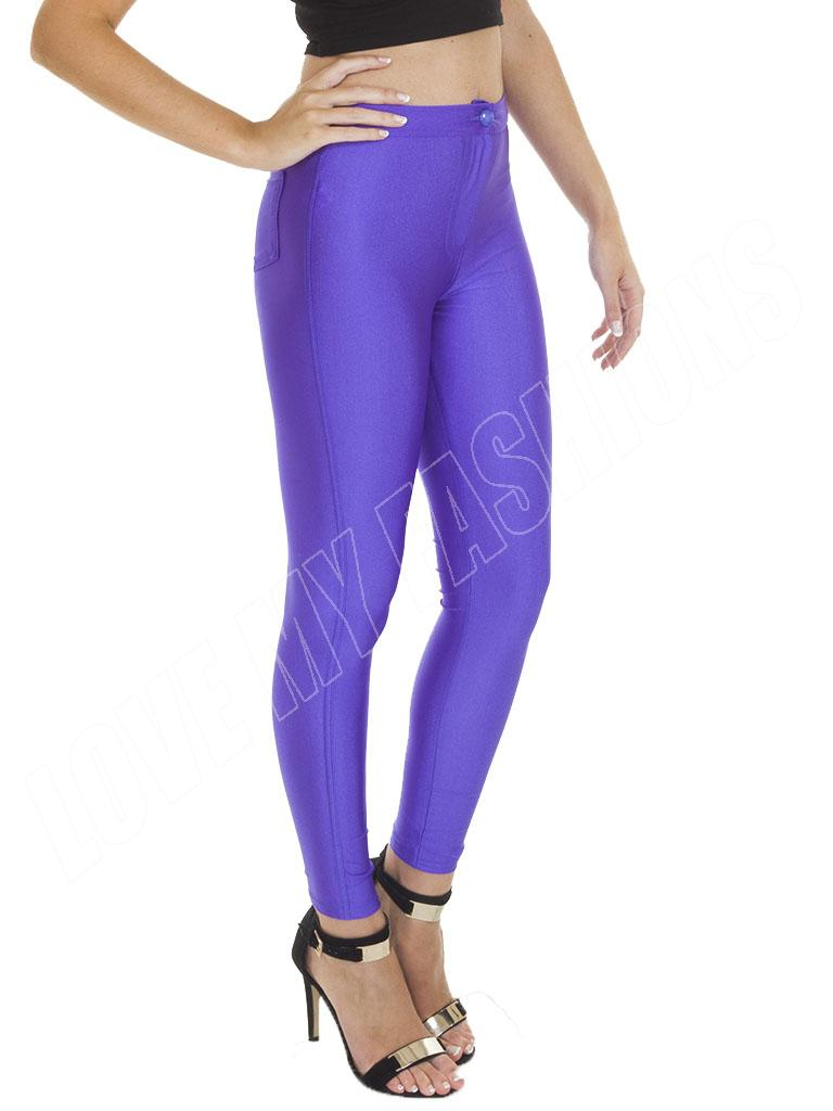 New-Womens-Ladies-High-Waisted-American-Disco-Pants-Shiny-Leggings-Button-6-8-14