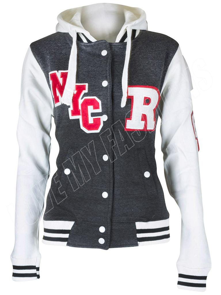 New Womens R-FOX Varsity College Baseball Hoodie Hooded Jacket ...