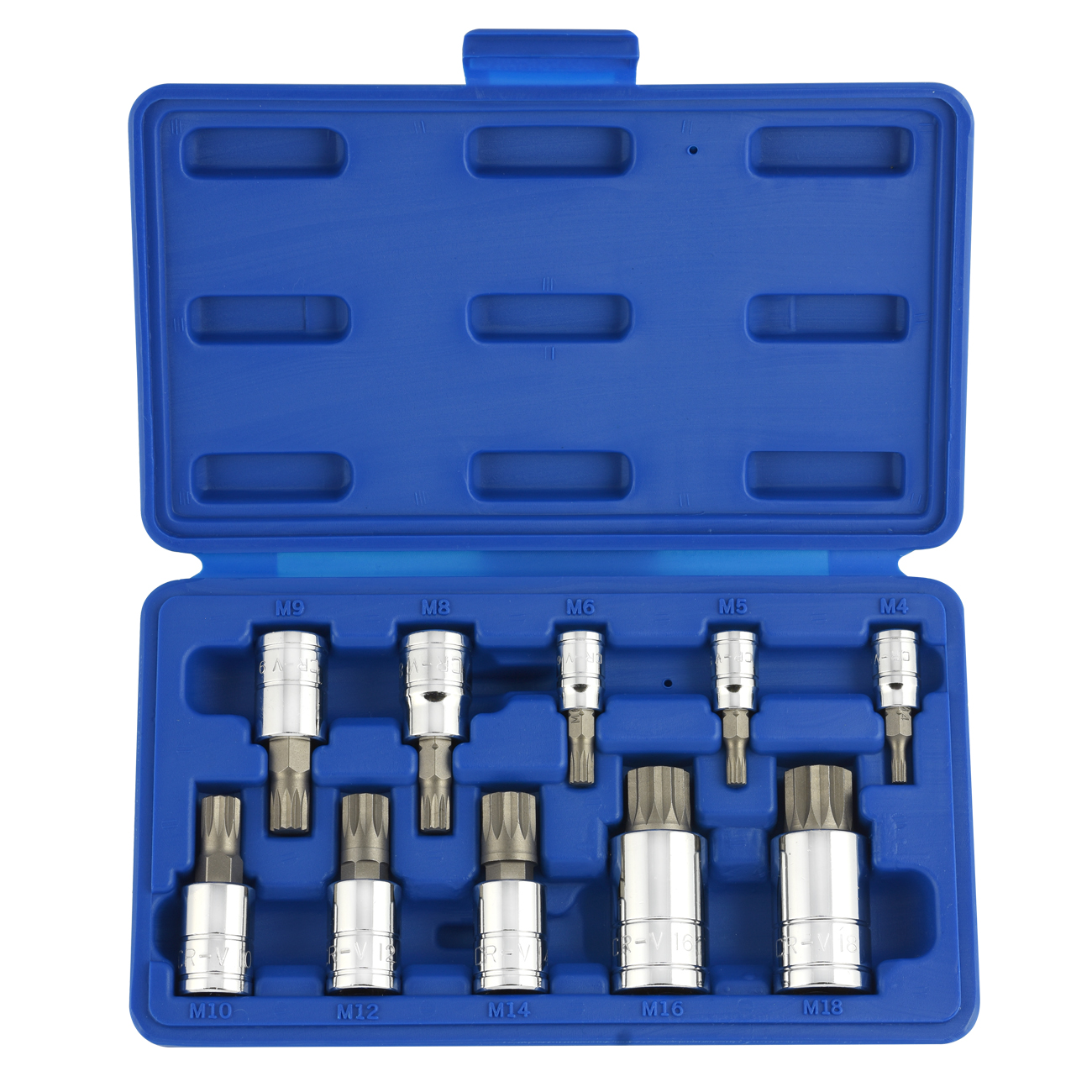 10pc Xzn 12 Point Mm Triple Square Spline Bit Socket Set