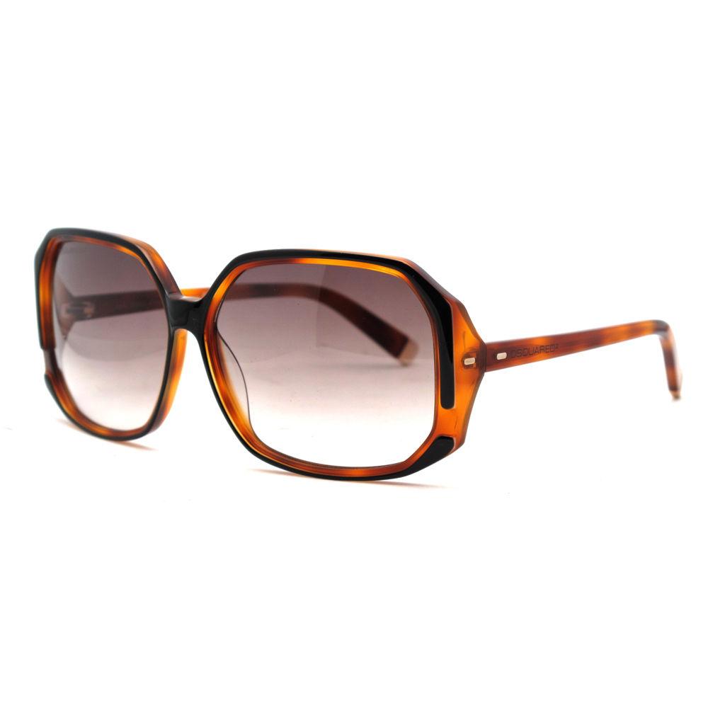 DSquared DQ 0052/S 05F Black/Light Tortoise Rectangle Full Rim Sunglasses